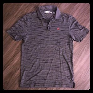 NWOT Travis Mathew Grey Tiger Striped Polo Small